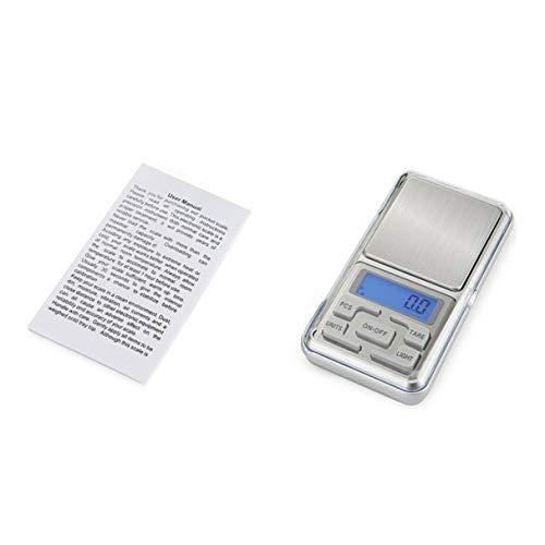 EmNarsissus 500g x 0,01g Mini-Präzisions-Digitalwaage für Gold-Sterling-Silber-Waage Schmuck Balance-Gramm Elektronische Waage (Silber)