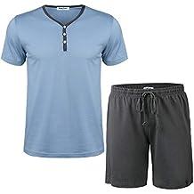 f0090051b1 Hawiton Pijama Hombre Verano Corto de 100% Algodón con Pantalón