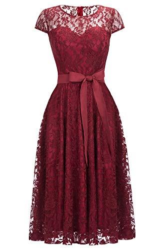 Babyonlinedress® Hochwertig Damen Spitzekleid Vintage Abendkleid Mit Ärmel Partykleid Abiballkleid Dunkelrot 50