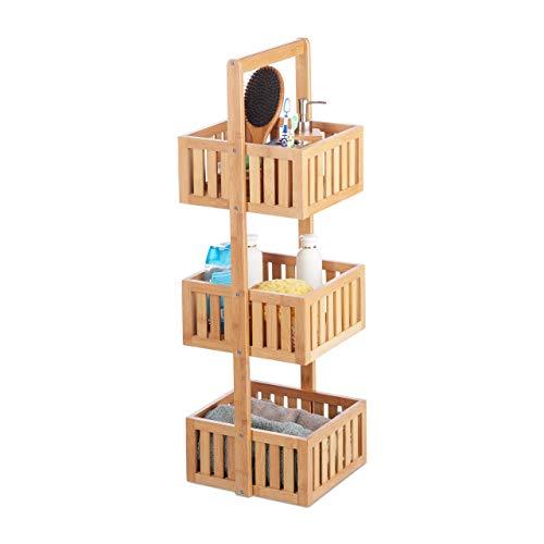 Relaxdays Bathroom shelf, Standing, Three shelves, Narrow, Bamboo, Brown, 82,5x27x26,5 cm, Nature, 5 X 27 X 26,5 cm