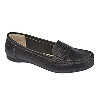 Womens Ladies Leather Loafer Comfortable Flats Driving Shoes Size UK 3 4 5 6 7 8 (6 UK, Black)