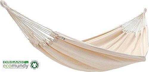 ECOMUNDY FAMILIA XXL - Luxus Familienhängematte, Natur GOTS BIO Baumwolle, 200x260x400cm, Belastbarkeit 300 kg,