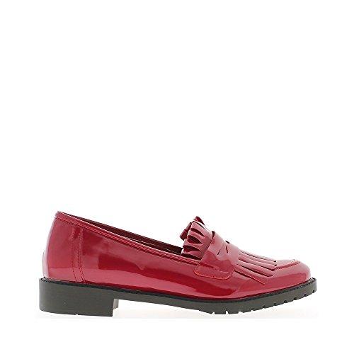 Vernice di colore rosso delle donne di mocassini con frange - 36