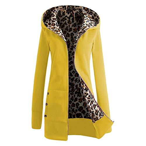Haodasi Damen Verdicken Leopard Sweatshirt Hoodie Zip Jacke - Mantel in Übergröße Lange Ärmel Kapuzenpullover Gelb (Leopard Pullover Hoodie)