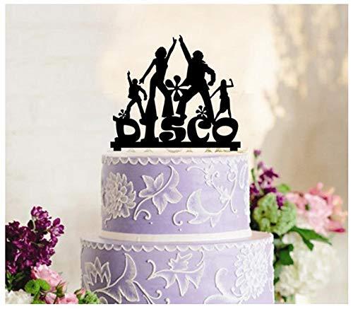 Dekoration, Kuchendekoration, Cupcake-Topper, Jahrestag, Hochzeit, Geburtstag, Party, 1960 1980 Disco-Party-Silhouette