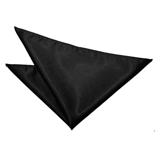 Q.KIM 100% Seda Pañuelos Hombre Bolsillo Cuadrado Pañuelo Pañuelos de Seda Pocket Square Pañuelos Mujer Plaza de Bolsillo Boda Fiesta Sólido Color 35X35CM Negro