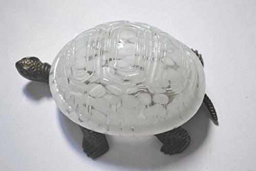 Schildkröte Tiffany-stil Lampe (Weiß Glas Stil Schildkröte Lampe mit Metall Basis 8x5.5x4 Zoll)