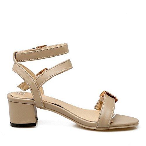 TAOFFEN Femmes Mode Bout Ouvert Sandales Chaussures Bloc Talons Moyen Sangle De Cheville Chaussures Kaki