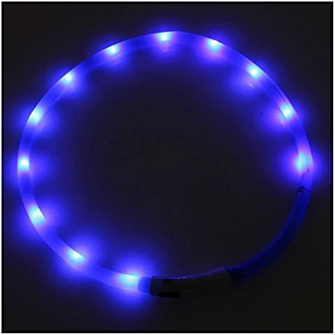 Collar de perro de luz LED parpadeante - SODIAL(R)Collar de perro de luz LED parpadeante de USB de banda de luz de seguridad impermeable recargable de animal domestico de color azul