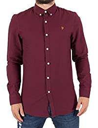 Farah Vintage Homme Brewer Slim Longsleeved Shirt, Rouge