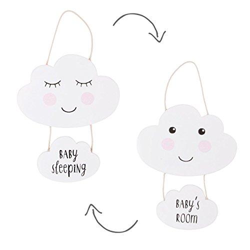 Sweet Dreams Cloud Nursery Plaque - Baby's Room/Baby Sleeping (White)