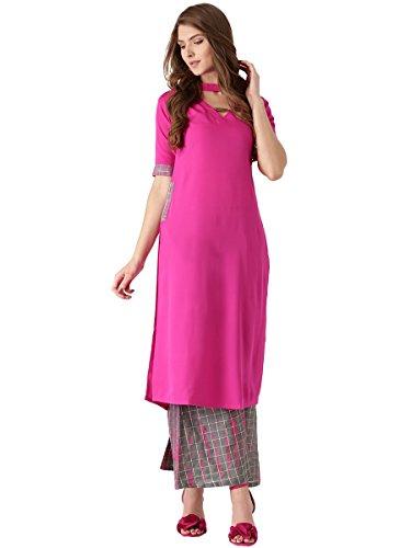 Libas Women's Straight Crepe Salwar Suit Set (5352_Pink_Medium)
