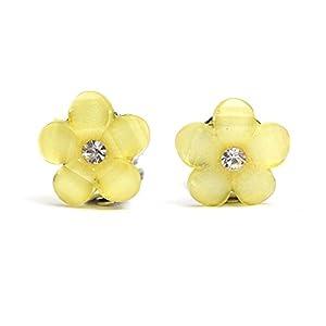 Idin Kinder Ohrclips – Gelbe Blumen mit Strass (Größe: ca. 16 x 16 mm)