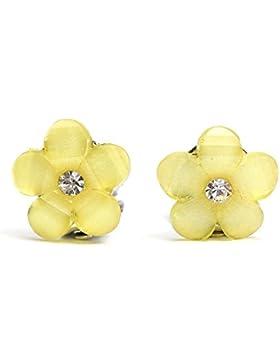 Idin Kinder Ohrclips - Gelbe Blumen mit Strass (Größe: ca. 16 x 16 mm)