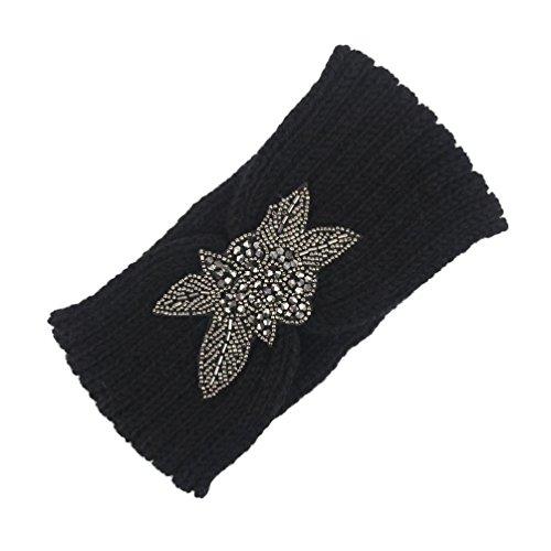 Style Croisé Bandeau Hiver Covermason Les femmes tricotant le bandeau à la main gardent le bandeau chaud (Noir)
