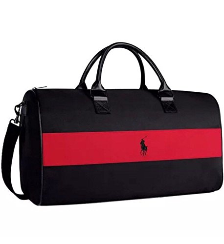 b18c9a20aea Ralph Lauren weekend, sports, travel, gym bag, holdall black with red stripe