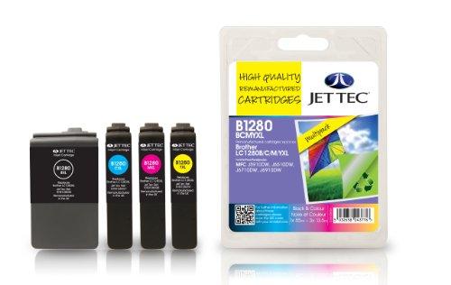 Preisvergleich Produktbild Jet Tec BRLC1280XLVALBP Brother LC1280XL Multipack In England hergestellte Wiederaufbereitete Tintenpatrone, schwarz, cyan, magenta, gelb High capacity