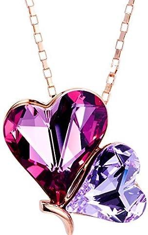 Plaqué or rose Rose et violet Cœur Papillon Cristal Swarovski Elements Pendentif Collier, 43,2cm