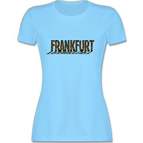 Städte - Frankfurt - tailliertes Premium T-Shirt mit Rundhalsausschnitt für Damen Hellblau