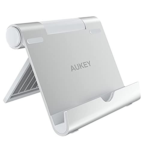 AUKEY Support Tablette Multi-Angles en Alliage de zinc Support Universel avec Inclinaison Ajustable pour Kindle , iPad , Samsung Galaxy Tab , iPhone 7 Plus / 6s / 6 , Samsung Note 8 / Galaxy S6 , Google Nexus et les autres Smartphones -