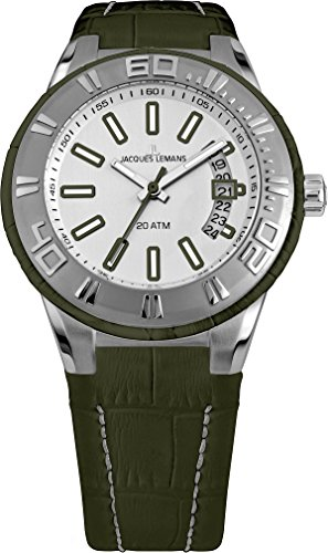 Jacques Lemans Miami Gents Green Leather Strap Watch 1-1770E