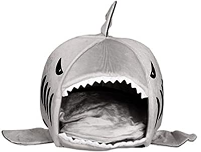 KiKa Monkey Removable Soft Cushion Grey Shark Bed For Small Cat Dog Cave Bed Big Shake Creative Pet Beds Waterproof Bottom Most Lovely Pet House Gift for Pet