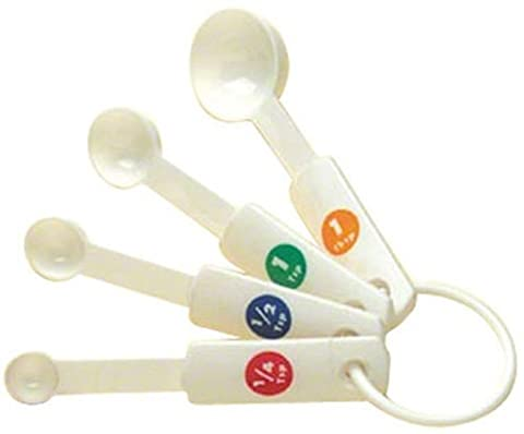 American Metalcraft MSP514 Plastic Measuring Spoons, White, Set of
