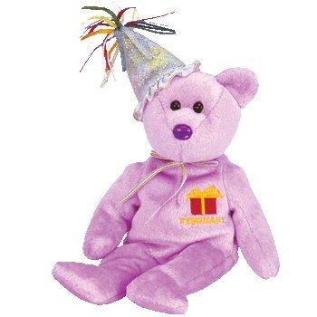 TY BEANIE BABY   FEBRUARY THE TEDDY BIRTHDAY BEAR (W/ HAT) TOY