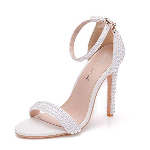 Bride Wedding Shoes Fashion Shoes for Woman Ankle Strap Party Dress Shoes Open Toe High Heels Pumps Female Sandals White 40 Donald J Pliner Peep-toe-heels