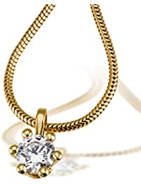 Goldmaid Solitär Damen-Collier 6er Stotzen 750 Gold 1 Brillant Lupenrein weiß 0,50 ct. Inkl. externer Expertise
