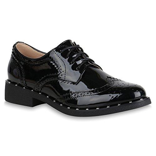 Stiefelparadies Damen Schuhe Halbschuhe Brogues Nieten Lack Business Schnürer 154548 Schwarz Berkley 40 Flandell