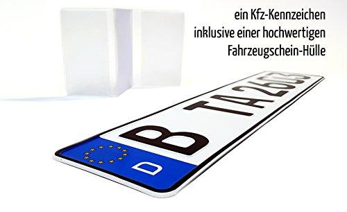 Preisvergleich Produktbild 1 Kfz Euro-Kennzeichen in der Standard-Größe 520x110 mm passend für alle deutschen Fahrzeuge und Fahrradträger inklusive einer hochwertigen transparenten Fahrzeugschein-Hülle