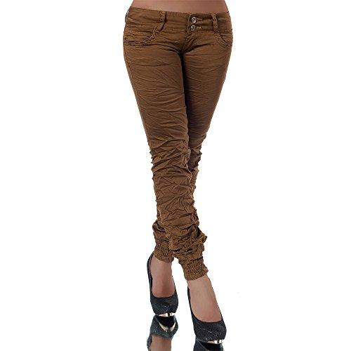 H723 Damen Jeans Hose Hüfthose Damenjeans Hüftjeans Röhrenjeans Röhrenhose Röhre, Farben:Camel, Größen:32 (Etikett 36)