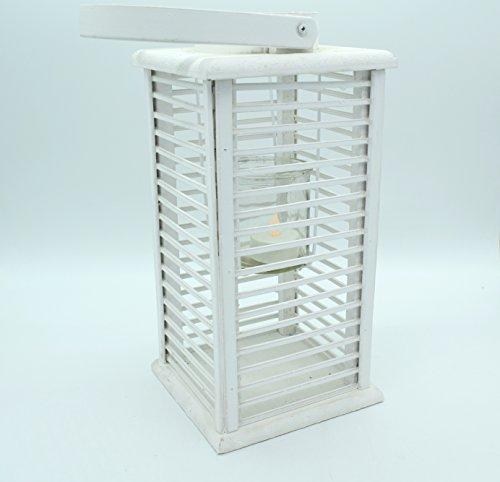 E Trade Lanterna a LED in Vimini e Rattan, Colore Bianco - 2