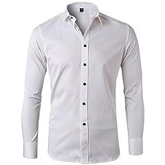 Idea Regalo - Camicia Elastica di bambù Fibra per Uomo, Slim Fit, Manica Lunga Casual/Formale, Bianco, Tl L/ 42