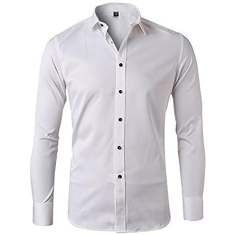 Harrms hommes chemise coton Oxford mince couleur unie manche longue affaires loisir chemise