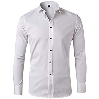 Harrms Camicia Elastica di Bambù Fibra per Uomo, Slim Fit, Manica Lunga Casual/Formale, Bianco, XS