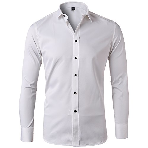 Harrms Bamboo Fiber Dress Shirts For Men Slim Fit Solid Long Sleeve Casual Button Down Shirts, Elastic Formal Shirts For Men,9 Colors