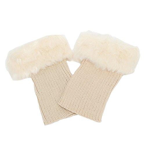 Butterme Faux Pelz Bein Wärmer Socken Stiefel Winter Frauen Bein Wärmer Knit Stiefelsocken Topper Cuff (Frauen-boot Beige)