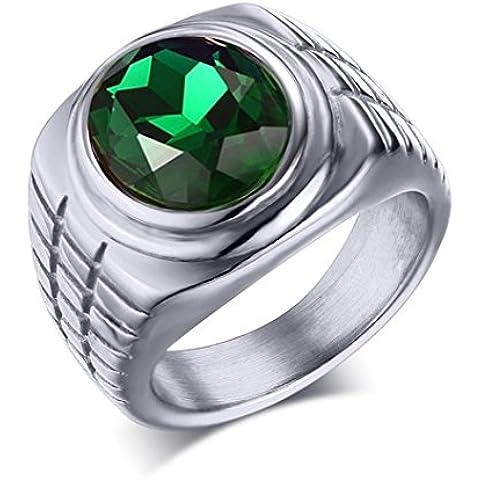 YKQJING Anelli gioielli set-verde diamante anello da uomo di eolico europeo d'oro acciaio