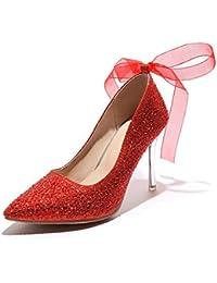 dec061008e2 LHWAN Cintas rhinestone mujeres tacones altos bombas puntiagudos tacón de  aguja tacones de boda banquete zapatos