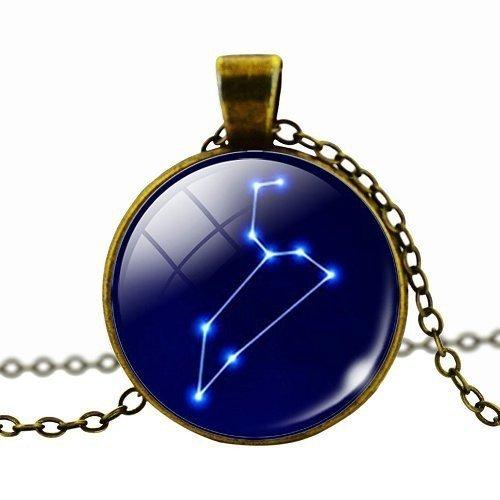 Fashion Frauen Herren Cabochon Sternzeichen Anhänger Halskette Antik Bronze Kette Halskette Choker Vintage Jewelry (Blau Vivid Kleidung)