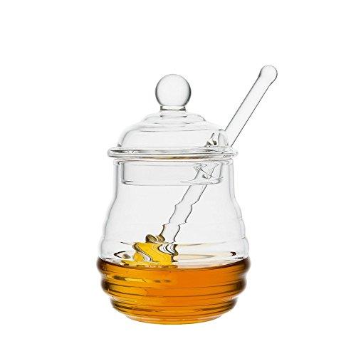 Mkouo Honiggläser Glas Honigtopf mit Honig Löffel, Fassungsvermögen 255 ml