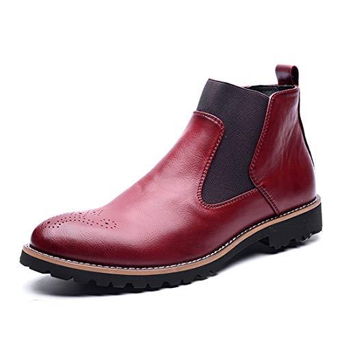 TENGTA Botines Chelsea para Hombre Zapatos de Vestir Oxford de Cuero Brogue Fur Rojo Vino 40