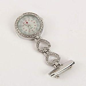 Cxypeng Krankenschwesteruhr,Liebe Diamant Krankenschwester Tisch hängende Uhr Brust Uhr Quarzuhr-Rose Gold A,Medizinische Taschen Uhren