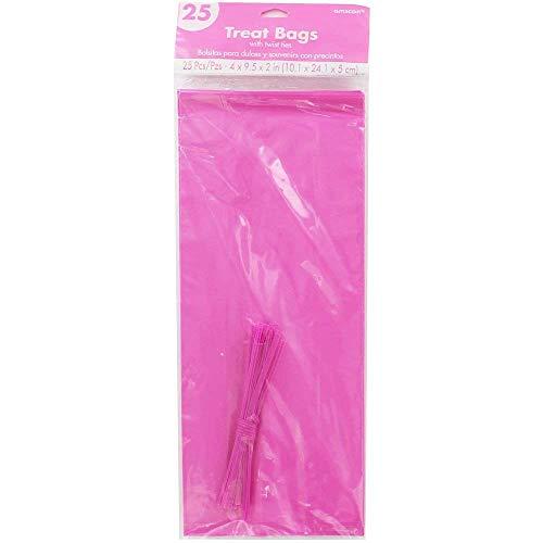 Rosa Plastik Treat Taschen mit drehbarem Fliegen x 25 ()