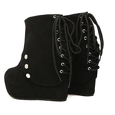 pwne Donna Autunno Inverno Piattaforma Informale In Tessuto Cuneo Piattaforma Tacco Lace-Up Nero Chiodati Black Us7.5 / Eu38 / Uk5.5 / Cn38 US7.5 / EU38 / UK5.5 / CN38