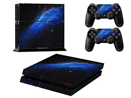 Stillshine Star Night Sky Skin autocollant pour PS4 Sony et 2 manettes de Console (blue universe)