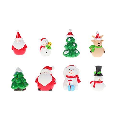 Toyvian 8 Stücke Weihnachten Miniatur Deko Schneemann Weihnachtsmann Rentier Feen Garten Figur Miniaturfiguren Büro Tischdeko Sukkulenten Bonsai Blumentopf Micro Landschaft Dekoration