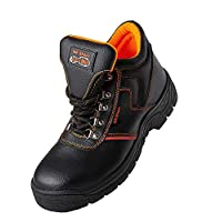MK Men`s Steel Toe Safety Work Boots in Black Color